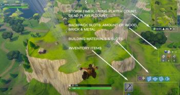 Fortnite Battle Royale basic HUD layout